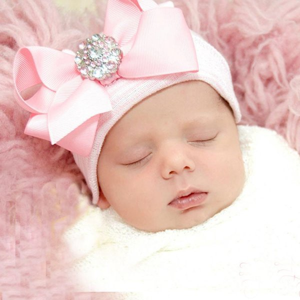 0-3 Months Cute Newborn Baby Hats Big Bow Knot Pink Rhinestone Stripe Toddler Knit Caps Warm Infant Hat