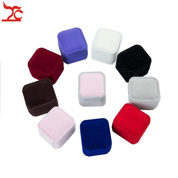 8 Colors Fine Square Wedding Velvet Earrings Ring Case Amazing Birthday Engagement Party Ring Jewelry Display Storage Gift boxes