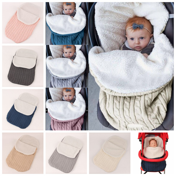 6styles Neonato Coperta Swaddle Sacco a pelo Passeggino Avvolgere Warm Sleepsacks Crochet Knitting Coperta Spessa 68 * 38 cm FFA760