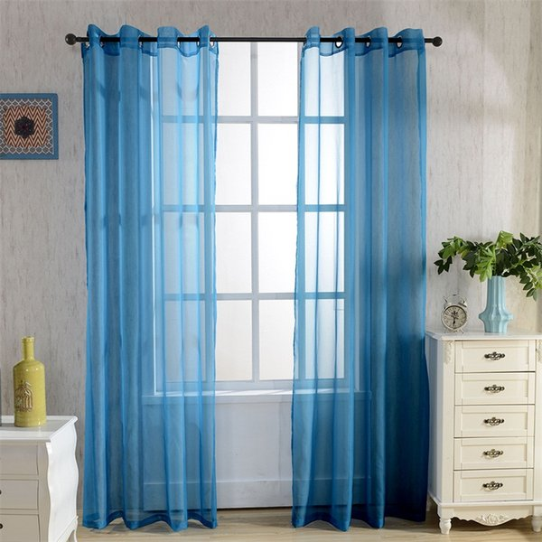Europe Treatments Rainbow Solid Voile Door Window Curtain Drape Panel Sheer Tulle For Home Decor Living Room Bedroom Kitchen P184z15