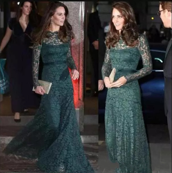 Formal Dark Green Elegant Evening Dresses Long Sleeves Lace Special Occasion Dresses KATE MIDDLETON Same Style Red Carpet Prom Dresses