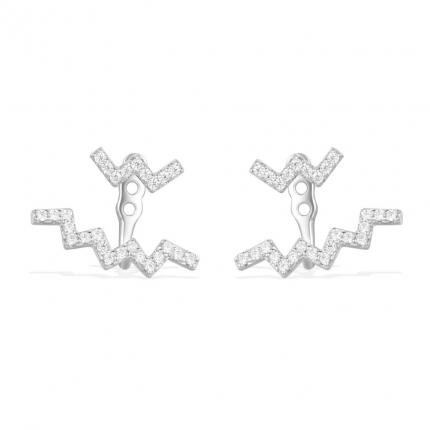 Sterling Silver Diamond Z Shaped Earrings.Top quality Popular Sterling Silver fashion jewelry.High-end fashion Sterling Silver with diamond