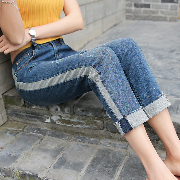 women distressed jeans summer autumn 2018 fashion new side striped loose fit ladies ripped denim cropped wide leg jeans pants