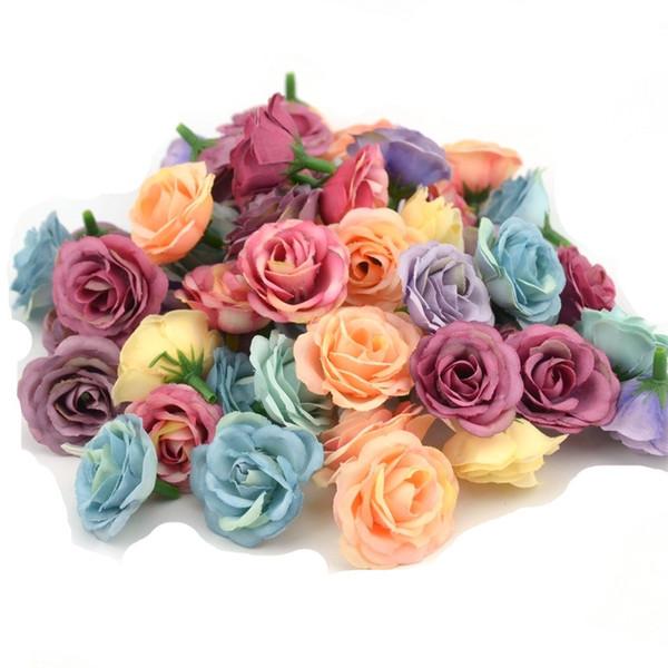 3 cm Mini Rose Tuch Künstliche Blume für Hochzeit Home Room Dekoration Ehe Schuhe Hüte Zubehör Seide Blume 10 teile / los