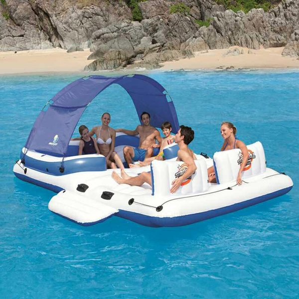 Wholesale-Large Inflatable In Water Chaise Boat Bed 5 6 people Viewseaborne Beach Counge Mat Row Toys Family