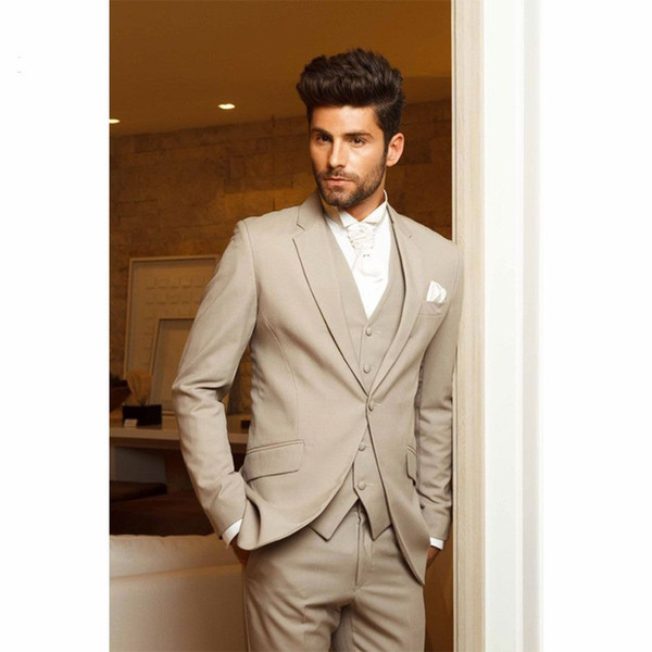 Classic Design Khaki Groom Tuxedos Notch Lapel One Button Groomsmen Mens Wedding Tuxedos Excellent Man 3 Piece Suit(Jacket+Pants+Vest+Tie)90