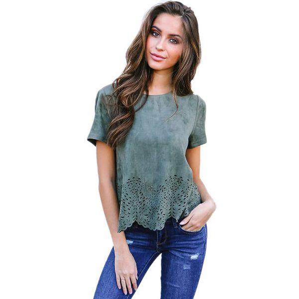 Mode Wildleder Tube Aushöhlen T Shirt Frauen Kurzarm Oansatz Lose T-Shirt Casual Damen Einfarbig Tops Camiseta Mujer