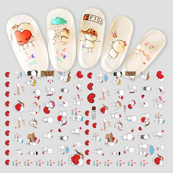 1 pc Nail Art Etiqueta Adesiva Dos Desenhos Animados Little Girl Dog Urso Panda FootbHeart Amor Doce Moda 3d Manicure Decalque Novo