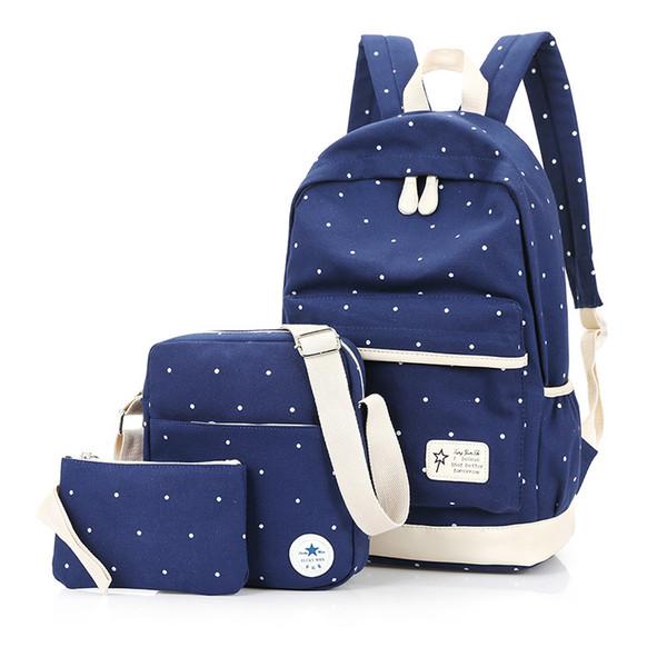 Kajie Fashion Dots Women Schoolbag High Quality Canvas For Teenage Cute Girls School Backpacks 2018 Casual Woman Bags Bagpack