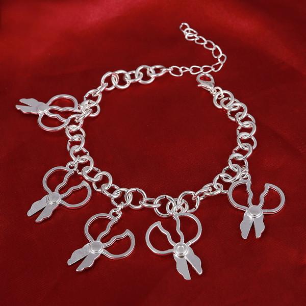 Hesiod tijeras pulseras encantos cadena de enlace color plata boda nupcial mujeres pulseras tobilleras días de san valentín regalos