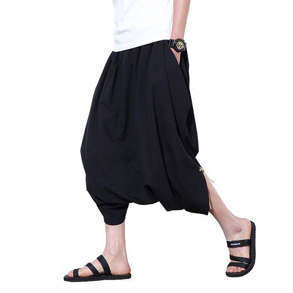 2018 Men Japan Harajuku Loose Linen Cotton Haren Pants Wide Leg Hanging HipHop Crotch Pants Low Crotch Mens Vintage Trousers 5XL
