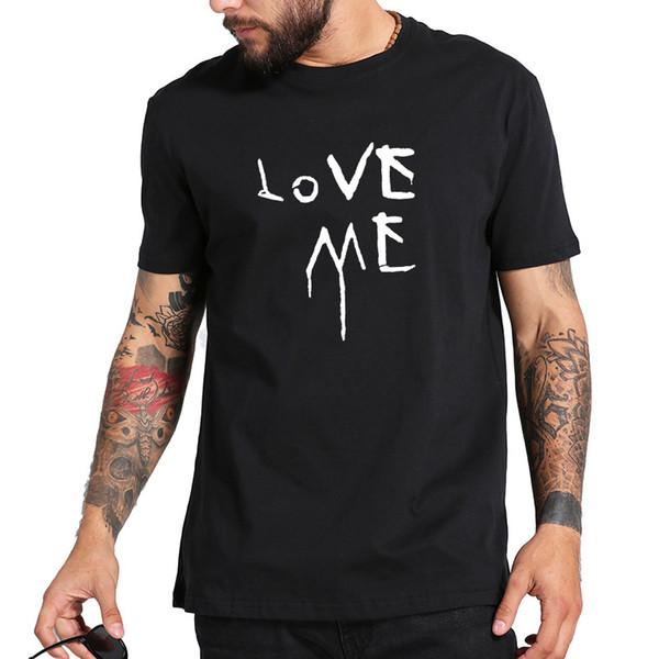 Хип-хоп футболка Love Me Streetwear Крутая мужская футболка Черный O - Топы с вырезом на футболке Оригинальный дизайн Футболка с рисунком 100% хлопок