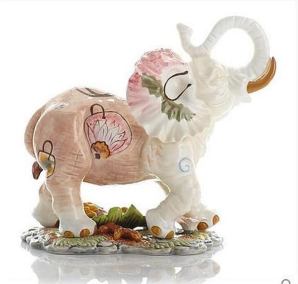 flowers ceramic elephant home decor crafts room decoration ceramic kawaii ornament porcelain garden animal figurines decoration