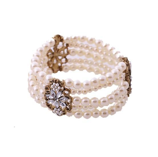 Großhandel Mode Zirkonia Blume Kunststoff Perle Perlen Multilayer Charme Armband Armband für Mama Mädchen Frauen Freund Liebhaber