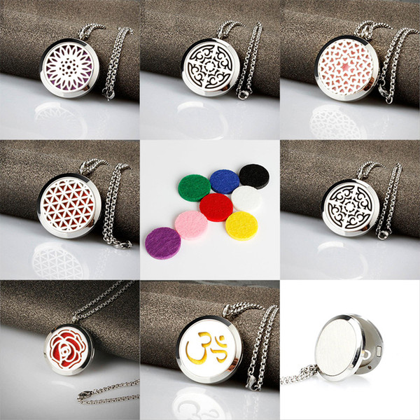 Men Stainless Steel Jewelry Necklace Aromatherapy Essential Oil Surgical Perfume Diffuser Locket Pendant Women Mens Chain Necklace