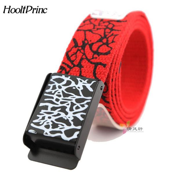 HooltPrinc 2018 exclusive new explosion models men women fashion Crack pattern belt Automatic buckle canvas belt Cheap wholesale