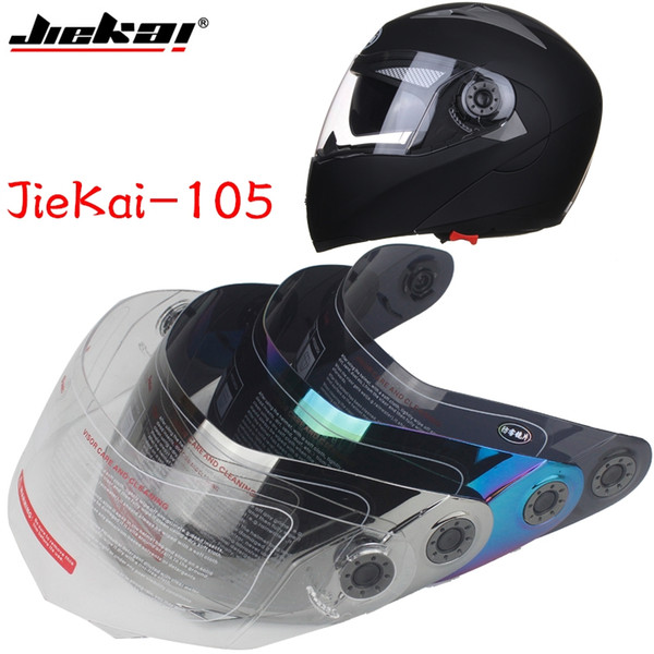 JIEKAI-105 model full face motorcycle helmet visor flip motorcycle helmet shield 4 colors, special link lens!