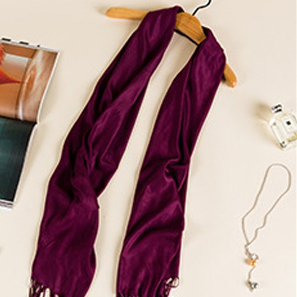 Fashion Thin Cotton Linen Wrinkled Scarf Shawls for Women Autumn/Winter Warm Blue Fringed Skinny Scarves