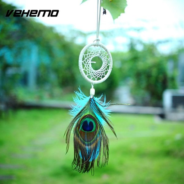 Vehemo Handmade Flax Dream Catcher pluma neta Plumas de pavo real colgando Living Bed Room Home Car Decoration Decor regalo
