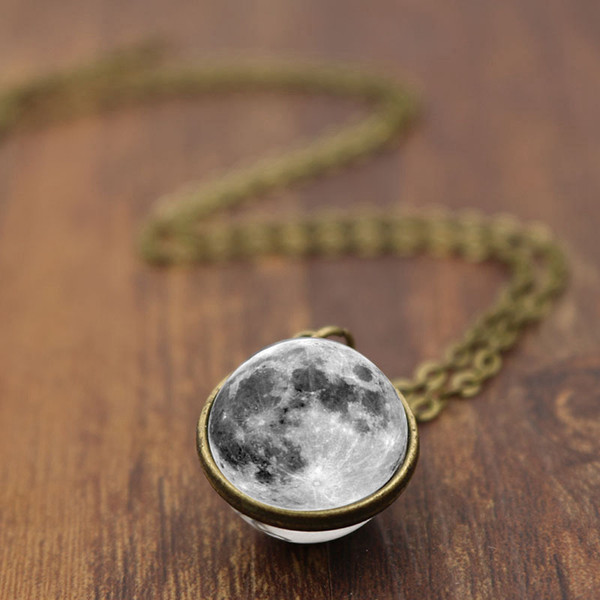 New Design! 10pcs 2 Color Grey Moon Double Sided Pendant Necklace Art Photo Glass Cabochon Jewelry Vintage Handmade Necklaces for Women Gift