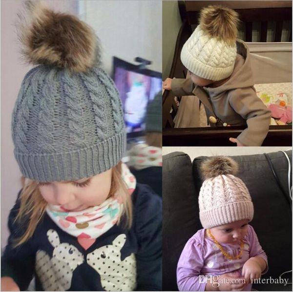 Baby Hats Twist Knitted Caps Kids Pom Poms Beanie Boys Fur Ball Skull Caps Winter Knit Slouchy Crochet Hats Fashion Outdoor Hats B3863