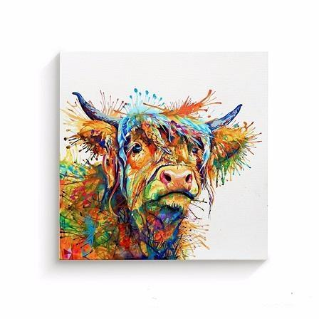 92b229c0216d 2019 Cow Abstract Art Animal Nature Quality Canvas,Hand Painted ...