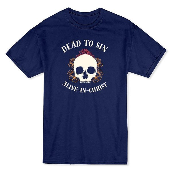 """""""Dead To Sin, Alive In Christ"""" Quote Skull Graphic Men's T-shirt Casual Short Sleeve T Shirt Novelty Cartoon Character"""