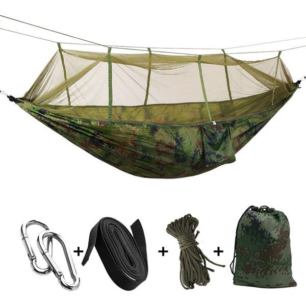 Taşınabilir Yüksek Mukavemetli Paraşüt Kumaş Kamp Hamak Asılı Yatak Cibinlik Uyku Ile Hamak