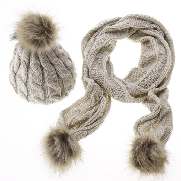 Two-piece Winter Girl Solid Color Hats For Women Knitted Warm Wool Hats Scarves Suit Female wool Pompon Scarf 2018