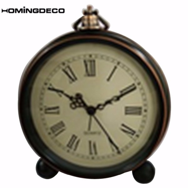 Homingdeco Vintage Alarm Clock Antique Bedside Wake Up Clock Study Room Desk Table Home Decor Crafts For Bedroom