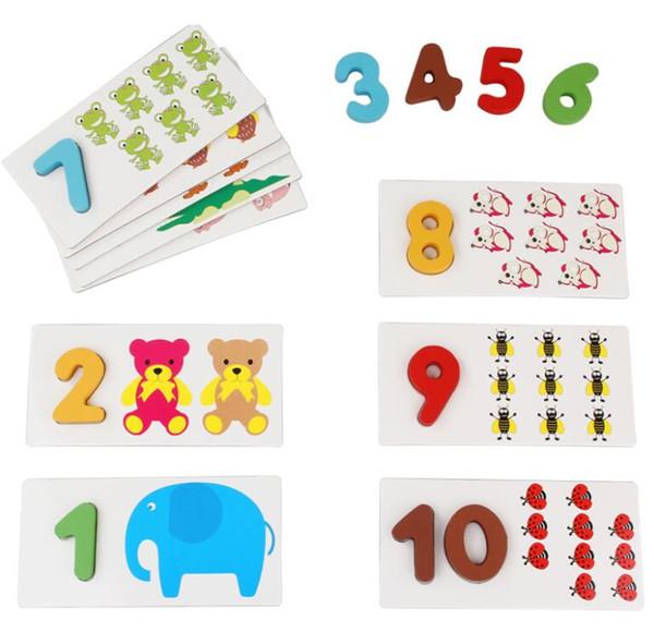 1-10 Tarjetas de numeración preescolar de educación temprana de madera Aprender números Contar juguetes Cognitivo Combinar rompecabezas