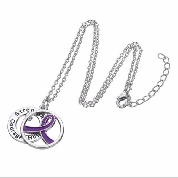 Breast Cancer Awareness Necklace Women Jewelry with Strength Hope Courage Words Charm and Purple Ribbon Pendant