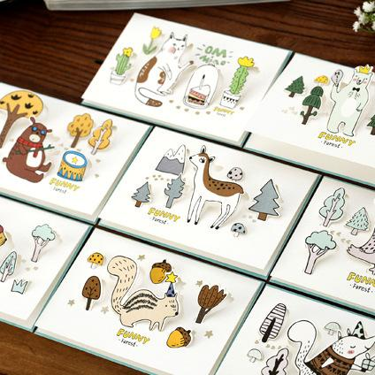 Free ship!1lot=80pc!Creative Hollow animal folding greeting card / birthday wishes card/festival cards with paper envelope