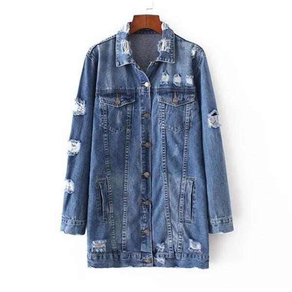 Denim Jackets Women Hole Boyfriend Style Long Sleeve Vintage Jeans Jacket Denim Jacket Loose Spring Autumn Coat Jeans