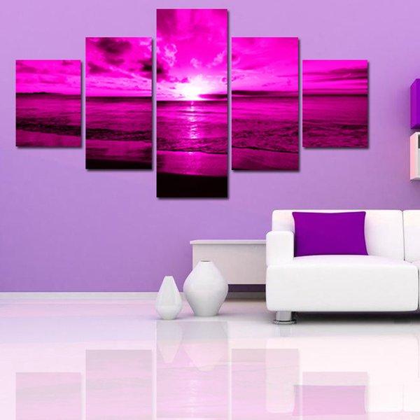 5 Panel Decorative Modern Wall Art Paintings purple sea sunset ...