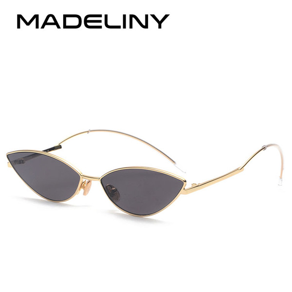 MADELINY Moda Cat Eye Mulheres Personalidade Óculos De Sol Da Marca de Design de Luxo Senhora Pequena Senhora Óculos 2018 NEW Metal MA435