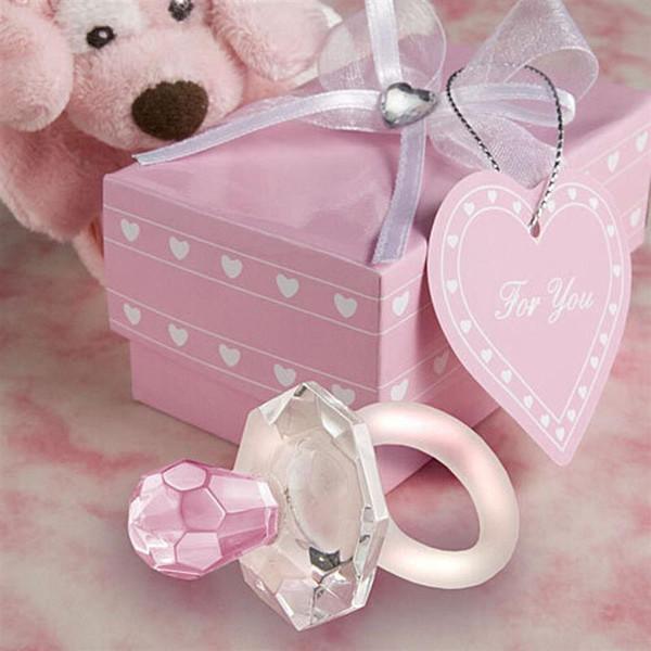 Großhandel Neue Party Geschenk Künstliche Kristall Schnuller Charme Anhänger Mädchen Boy Baby Dusche Taufe Hochzeit Gunst Dekoration Von Kissu