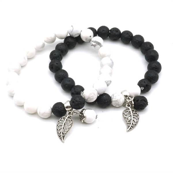 best selling Lover Leaf Charms 8mm Green Black White Lava Stone Beads Bracelets DIY Essential Oil Diffuser Bracelet Yoga Jewelry