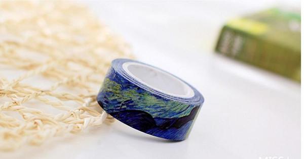 1 pzas Tamaño 15 mm * 7m Papel pintado bricolaje Van Gogh cintas washi / cinta adhesiva / cintas adhesivas decorativas / útiles escolares 27