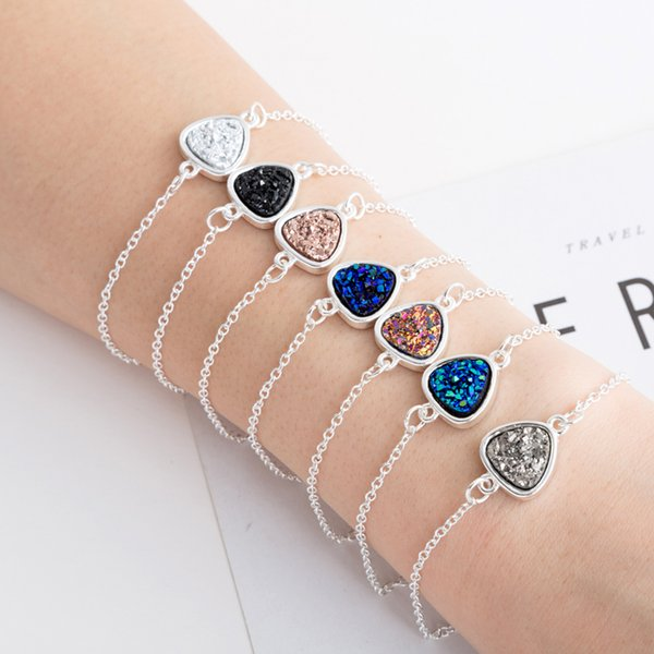 Fashion Triangle Druzy Drusy Bracelet Silver Plated Crystal Druse Resin Stone Bracelet Women Brand Jewelry Accessories