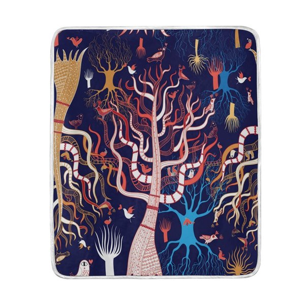 Abstract Magical Tree Forest Blanket Soft Warm Cozy Bed Couch Lightweight Coral Fleece Blanket Throw for Kids Women Boy