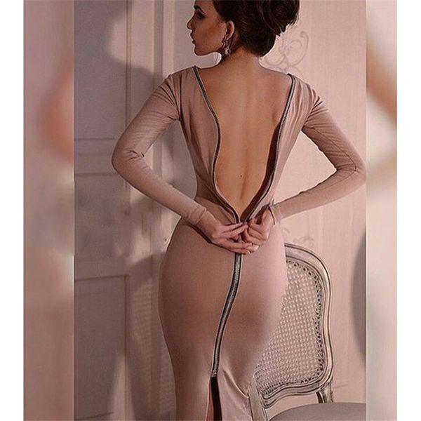 Donne Fashion Designer Gonne Dress Party Sexy o abiti per la casa Indietro Zipper completo Manica lunga Robe Matita Tight Dress Nuovi arrivi Plus Size