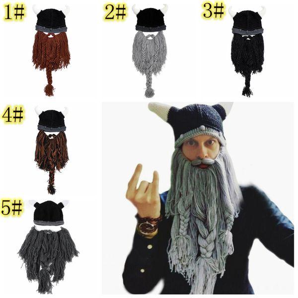 Knitted Beard Beanie horn Mask cap Handmade Barbarian Vagabond Funny Halloween Hat Chirtsmas gift Crazy Ski pirate Crochet Caps FFA950 12pcs