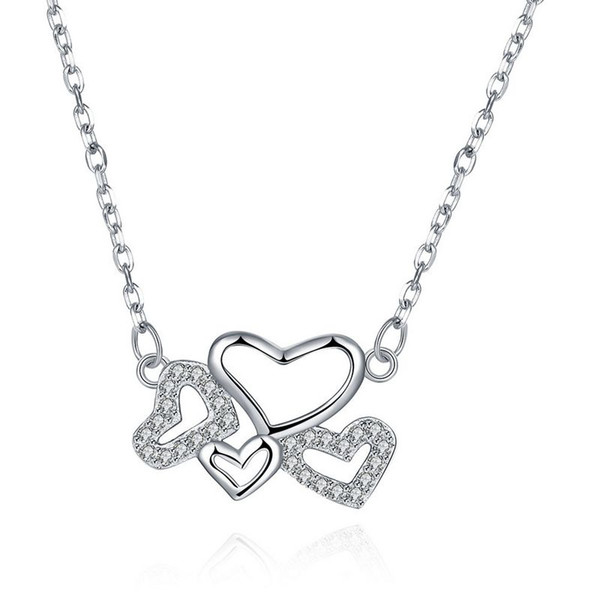 Sterling Silver 925 Necklace Lady Party Jewelry Pure Silver Four Hearts Pendant Necklace With Zircon Free Shipping n075