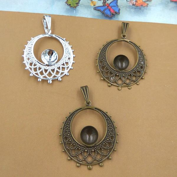 25mm Fit 8MM Round metal jewelry stamping blanks, antique bronze plated cameo cabochon setting, diy silver pendant base bezel tray vintage