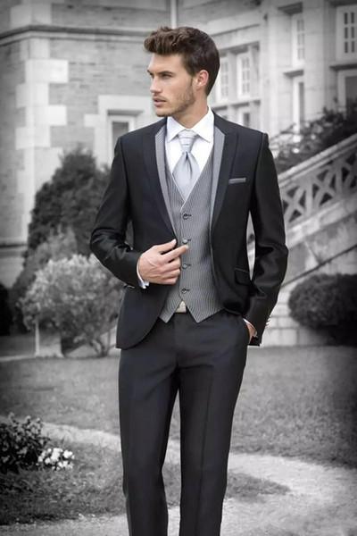 Slim Fit Noir Hommes Costumes Marié Tuxedos Garçons D'honneur Costumes Formels Hommes D'affaires Portent Trois Pièces De Mariage Bestman Wear