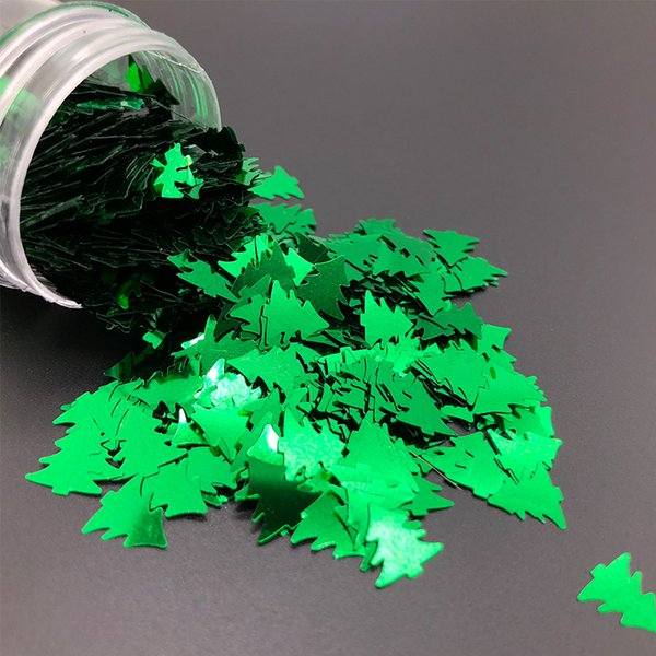KMGLITTER Eco-friendly Poly New Year Decorated Sequin Green Christmas Tree Glitter for Christmas Day