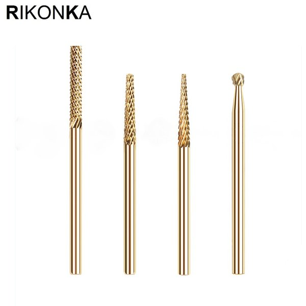 RIKONKA 2PCS Milling Cutter For Manicure 2.35mm Tungsten Carbide Nail Drill Bits Manicure Cuticle Cutter Tips For Nail Art Tools