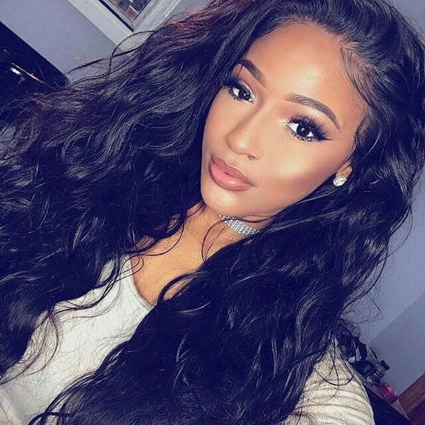 Wavy Human Hair Lace Wigs 130% Density Virgin Natural Hairline Indian Full Lace Front Wigs Baby Hair LaurieJ Hair