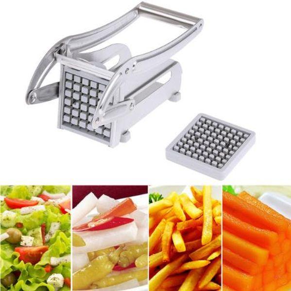 Stainless Steel French Fries Cutters Potato Chips Strip Cutting Machine Maker Slicer Chopper Dicer W/ 2 Blades Kitchen Gadgets